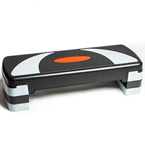 PRISP Höhenverstellbarer Stepper mit 3 Stufen (10/15/20 cm), 78 x 28 cm Steppbrett für Aerobic und Fitness-Workouts, kompaktes Trainingsgerät für Zuhause, Step...