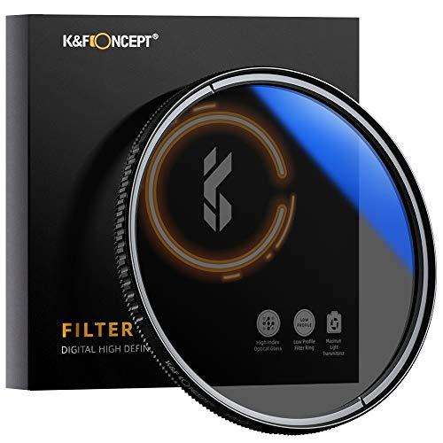 K&F Concept Pro 62mm Slim Zirkularer Polfilter Polarisationsfilter CPL Filter Cirkular Polfilter Optisches Glas & Aluminium für Foto-Kameraobjektive