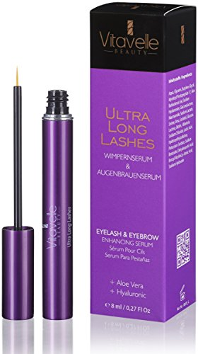 Eyelash serum and eyebrow serum 8 ml ultra long lashes without prostaglandins to lengthen the eyelashes and eyebrows I eyelash growth and eyebrow growth I ...