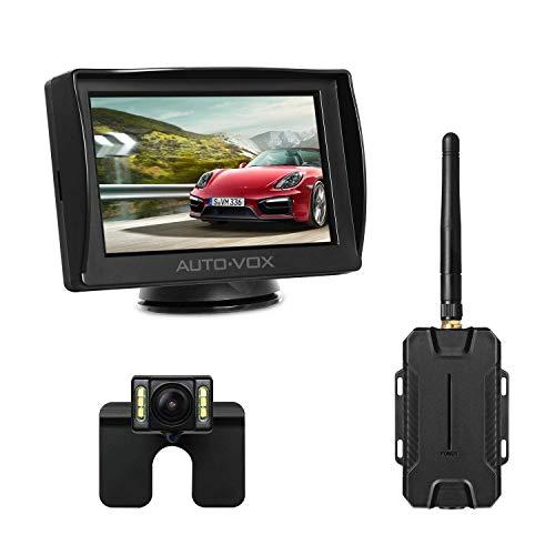 AUTO-VOX M1W Wireless Backup Kamera-Kit,Rückfahrkamera drahtlos, IP68 Wasserdicht LED Super Nummernschild Nachtsicht Rückseite Funk Back Up Auto-Kamera,10,9cm LCD...