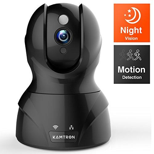 Wlan IP Kamera,KAMTRON HD WiFi Überwachungskamera,mit 350°/100°Schwenkbar,Home und Baby Monitor mit Bewegungserkennung, Zwei-Wege-Audio, Nachtsicht, unterstützt...