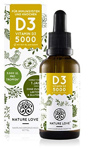 NATURE LOVE® Vitamin D3 - Multiple winner 2020 * - Laboratory-tested 5000 IU per drop - Premium: very high stability. Liquid in drops (50ml). High dose, ...