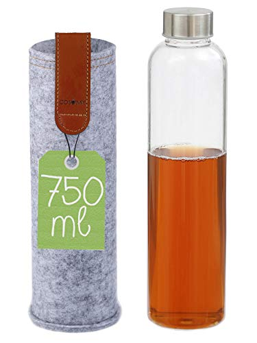 Cosumy Trinkflasche aus Glas mit Filzhülle für Unterwegs - 750ml Glasflasche - Auslaufsicher - Robustes Borosilikatglas