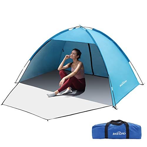 IREGRO Strandzelt, 3-4 Personen Strandmuschel, Tragbares Sonnenschutz Zelt, UV Schutz 50+, Kleines Packmaß, Ideal für Strand, Garden, Camping, Angeln und Picknick,...