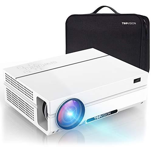 TOPVISION Heimkino Beamer mit Tragetasche,7200 Lumen Video Beamer with 80.000 Stunden Verlängert,Native 1080P LCD Beamer Full HD,4K 300'' Heim/Berufsbeamer für...