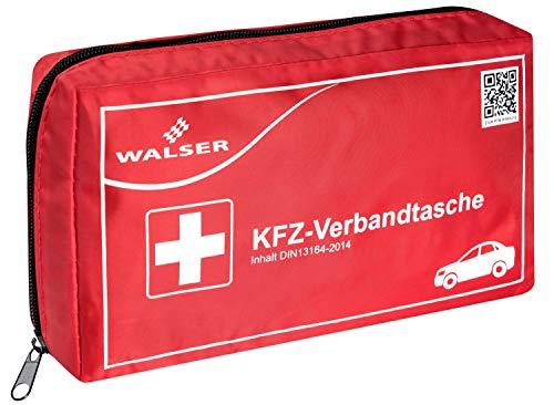 Walser 44264 KFZ Verbandskasten rot nach DIN 13164, Erste-Hilfe Set Auto, Verbandtasche