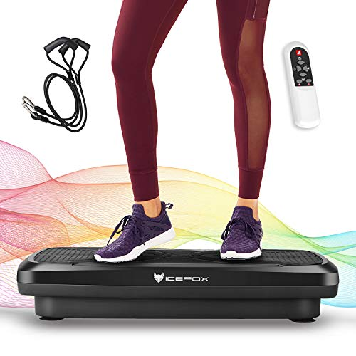 Icefox Fitness Vibration Plate with Bluetooth 4.0 Speaker, LCD Display & Remote Control, 10 Training Programs-180 Level