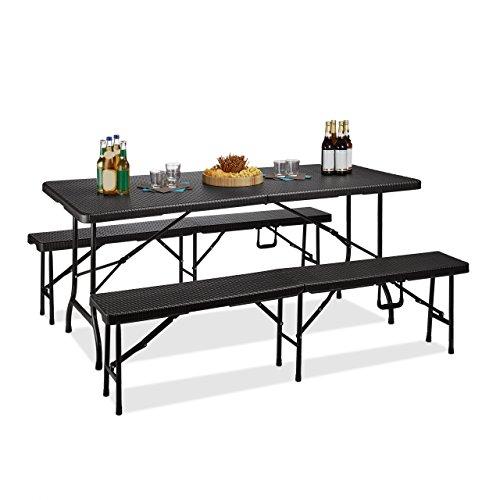 Relaxdays Bierzeltgarnitur klappbar Bastian, 3-teiliges Gartenmöbel Set, einfarbig, H x B x T: 73 x 180 x 75 cm, schwarz