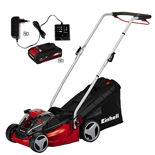 Einhell cordless lawn mower GE-CM 33 Li Kit Power X-Change (Li-Ion, 36 V, up to 200 m², 5-stage cutting height adjustment, incl. 2 x 2,0 Ah batteries and 2 x chargers)