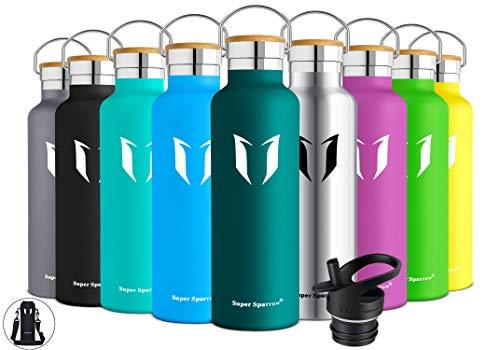 Super Sparrow Trinkflasche Edelstahl Wasserflasche 750ml - Isolier Flasche mit Perfekte Thermosflasche für Das Laufen, Fitness, Yoga, Im Freien und Camping | Frei...