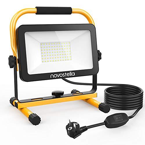 Novostella 6000LM LED Baustrahler 60W (Ersetzt 450W), LED Arbeitsscheinwerfer Arbeitsleuchte IP65 Wasserdicht 3030 LED 5M Kabel 6000K Tageslichtweiß,...