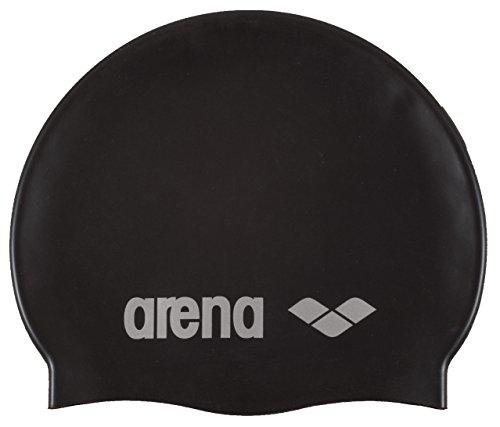 arena Unisex Badekappe Classic Silikon (Verstärkter Rand, Weniger Verrutschen der Kappe, Weich), Black-Silver (55), One Size