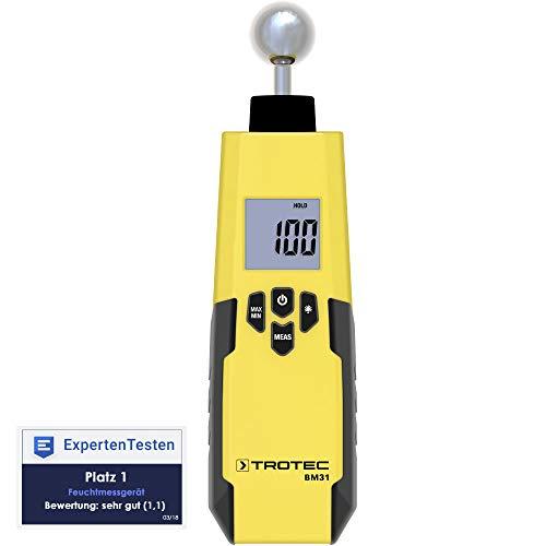 TROTEC Feuchteindikator BM31 Feuchtemessgerät (5 - 40 mm) Feuchtigkeit Messen Schimmel Wand Boden Decke Messgerät Innen-Raum