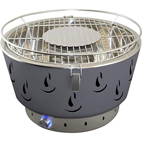 ACTIVA Airbroil 2020 Tisch Holzkohlegrill grau mit Aktivbelüftung und Tragetasche - Kleiner runder BBQ Grill für den Balkon mit Batterien & Belüftung