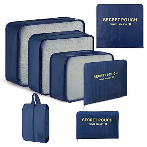 Newdora 7 teilig Packing Cubes, Kleidertaschen Verpackungswürfel, Kleidertaschen Set, Kofferorganizer Reise Würfel, Travel Organizers, Schwarzblau
