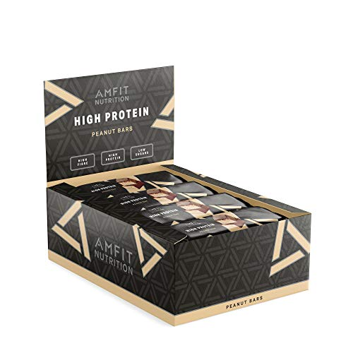 Amazon Brand: Amfit Nutrition Low Sugar Protein Bar (19,5gr Protein - 1,7gr Sugar) with Peanut Flavor - 12 Pack (12 x 60g)