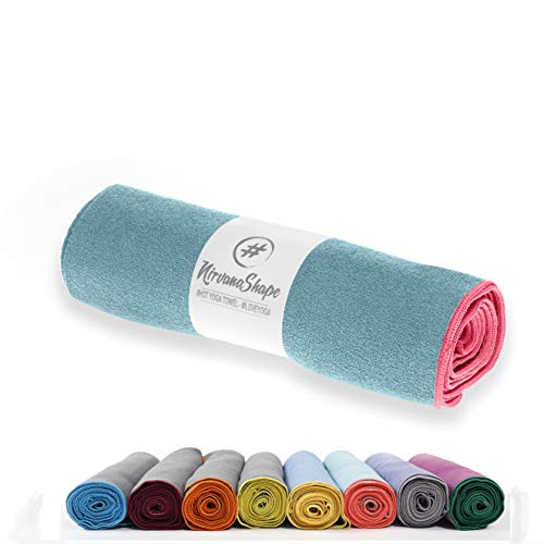 NirvanaShape ® Yoga Handtuch rutschfest | Hot Yoga Towel mit Antirutsch-Noppen | hygienische Yogatuch-Auflage für Yogamatte [ 185 x 63 cm ]