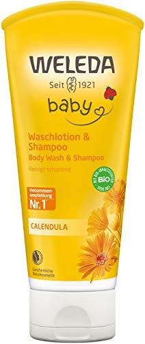 WELEDA Baby Calendula Waschlotion & Shampoo, Naturkosmetik schonendes Duschgel für Babyhaut- und Haar, reinigt und pflegt die Kopfhaut von Kindern und Babys (1 x...