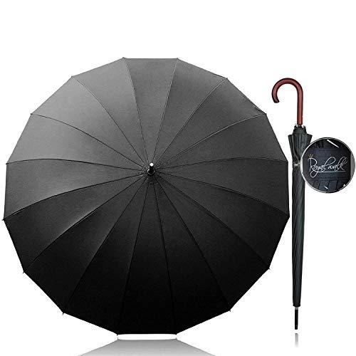 Royal Walk Groß XXL 54 inch Automatik Reise Golf Regenschirm für Damen und Herren Sturmfest Windsicher Leicht Klassisch für 2 Personen Holzgriff Wasserabweisend...