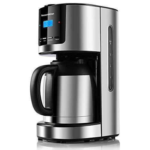 Bonsenkitchen Filterkaffeemaschine mit Thermoskanne und Timer, ProgrammierbareEdelstahl Kaffeemaschine mit Anti-Drip-Funktion, 10-12 Tassen(1.5L), LED-Anzeige,...