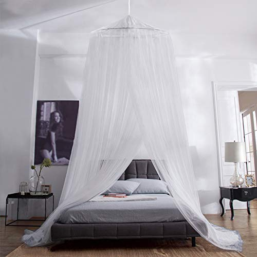 Aerb mosquito net bed, large mosquito net incl. Assembly material, headliner, mosquito repellent, mosquito repellent F, fly net also when traveling (①white) (①white)
