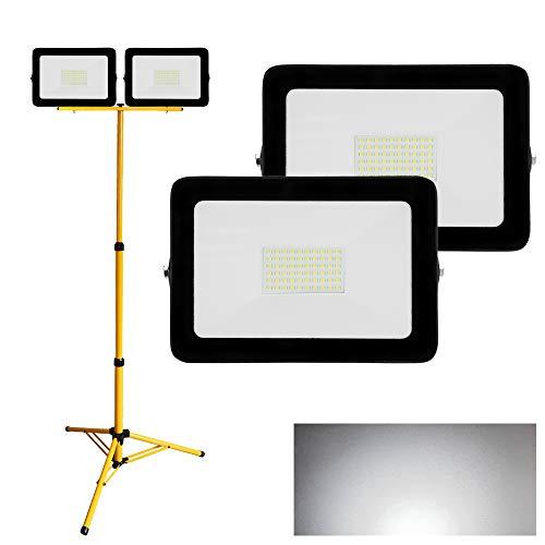 Hengda 2X LED Strahler 50W Kaltweiß + Stativ Fluter Flutlicht IP65 Wasserdicht 6500K Scheinwerfer 4250LM Außenstrahler Baustrahler für Hof, Garten, Platz, Lager,...