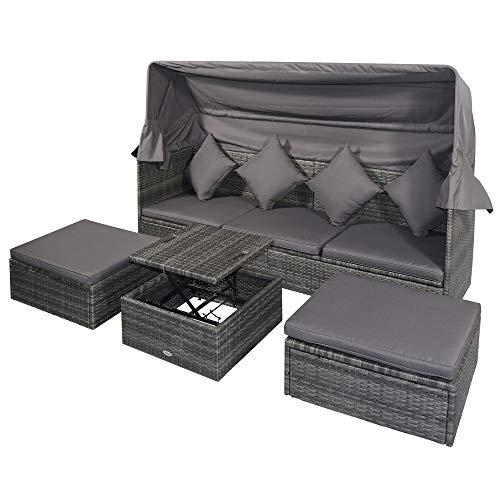 Outsunny Poly Rattan Lounge Set Loungegruppe mit Sonnendach Faltdach Sitzgruppe Sonneninsel inkl. Kissen und Beistelltisch Gartenmöbel Outdoor Grau