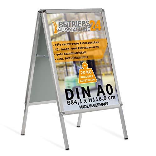 Betriebsausstattung24 Kundenstopper Gehwegaufsteller Werbetafel | für zwei Plakate | Aluminium Plakatständer | inkl. PVC Schutzfolie (A0 B84,1 x H118,9 cm)