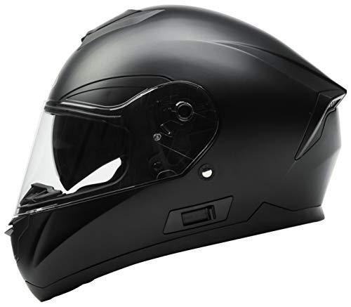 Motorradhelm Integralhelm Rollerhelm Fullface Helm - YEMA YM-831 Sturzhelm ECE mit Doppelvisier Sonnenblende für Damen Herren Erwachsene-Schwarz Matt-L