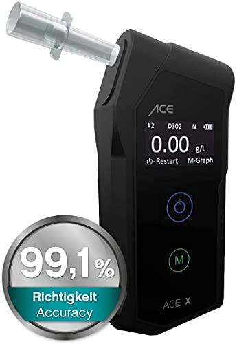 ACE X Alkotester - Digitaler Promilletester - Polizeigenauer Alkoholtester - TU Wien Testsieger (99,1% Genauigkeit)