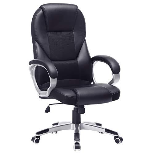 SONGMICS Bürostuhl Chefsessel Drehstuhl Computerstuhl Sitzhöhenverstellung office Stuhl Polsterung, OBG22B