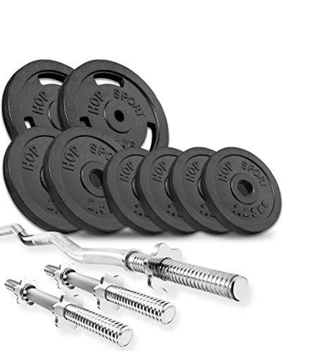 Hop-Sport cast dumbbell set with SZ bar, dumbbell bars and weights, 1x Curl bar, 2X dumbbell set 32kg 52kg or 72kg to choose from (32kg)