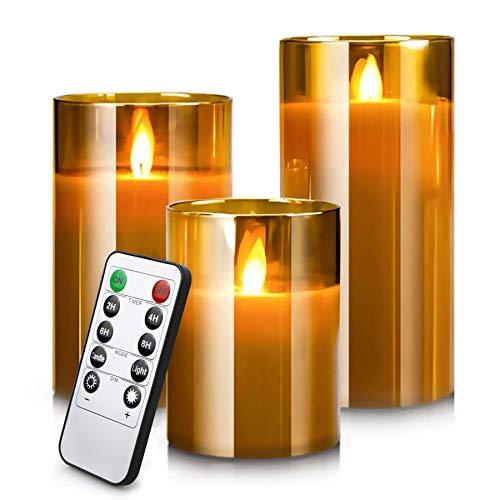 LED Flameless Candles Flackern mit Fernbedienung und Timer, 4in 5in 6in, 3er-Set, batteriebetriebene elektrische Kerzen mit beweglichen Wick Dancing Flames, echte...