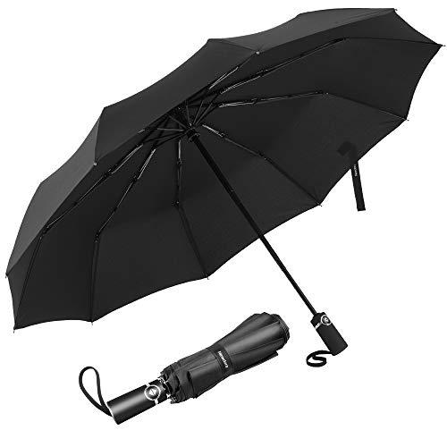 Newdora Regenschirm Taschenschirm Windproof sturmfest Auf-Zu Automatik 210T Nylon Umbrella wasserabweisend klein leicht kompakt 10 Ribs Reise Golfschirm mit...