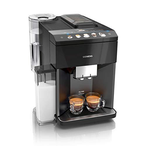 Siemens TQ505D09 EQ.500 integral Kaffeevollautomat (einfache Bedienung, integrierter Milchbehälter, zwei Tassen gleichzeitig, 1.500 Watt) schwarz