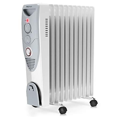 Pro Breeze 2500W Ölradiator - elektrischer, energiesparender Heizkörper mit 11 Rippen, integrierter Zeitschaltuhr, 3 Heizstufen, regulierbaren Thermostat und...