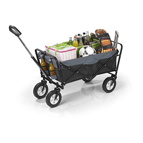 EASYmaxx Bollerwagen faltbar | robust, witterungsbeständig, pflegeleicht | Ausziehbarer Teleskopgriff- Rahmen aus Stahlrohr | Tragfähigkeit ca. 80 kg...