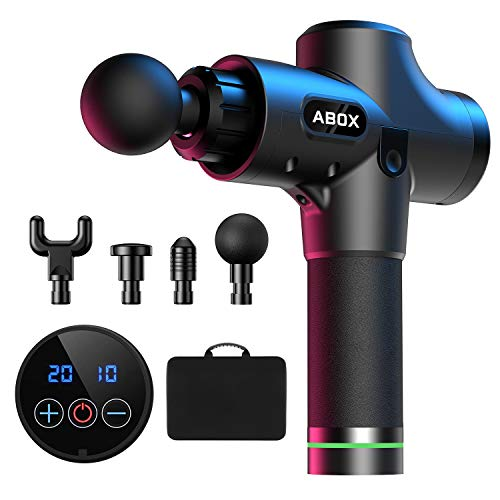 ABOX Massagepistole für Nacken Schulter Rücken Massage Gun Massagegerät Elektrisch Entspannen mit 4 Massageköpfen und 20 Geschwindigkeiten Vibrationsgerät...