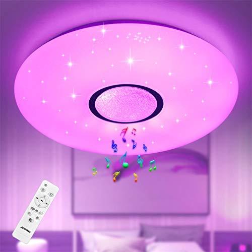 Deckenleuchte mit Bluetooth Lautsprecher und Fernbedienung JDONG 24W Farbwechsel, Sternen, dimmbar, Warmweiss- Kaltweiss, IP44 Wasserfest Badzimmerleuchte (ohne...