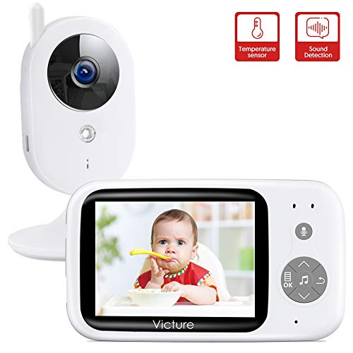 Victure Baby Monitor with Camera, Video Baby Monitor / Baby Monitoring, 3.2 'Wireless Digital LCD Screen Night Vision Temperature Monitoring Intercom Function VOX ...