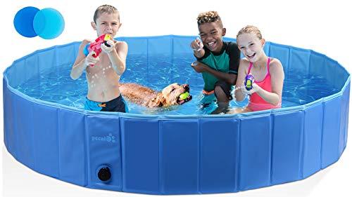 Pecute Hundepool Schwimmbad Für Hunde und Katzen Swimmingpool Hund Planschbecken Hundebadewanne Faltbarer Pool Für Kinder Den Hund Katze Geschenk - Haustier...