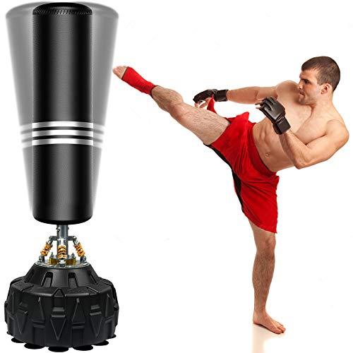 ZILINGO Boxsack Standboxsäcke Erwachsene Freistehender Standboxsack MMA Boxpartner Boxing Trainer Heavy Duty Punchingsäcke mit Frühling Saugfuß, für Anfänger,...