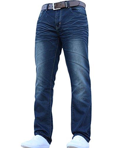 Herren Crosshatch NEU FARROW Designer Jeans mit Gürtel - Dark Wash, 32W / 32L