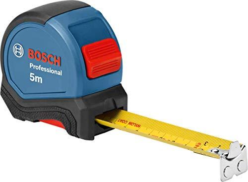 Bosch Professional Maßband 5 m (Einhandbedienung, Gürtelklemme, Magnethaken, 2 Stopp-Tasten, 27 mm Nylon-Stahlband)