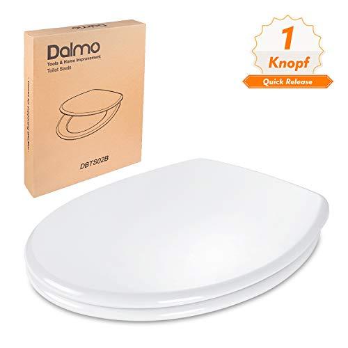 WC Sitz, DALMO DBTS02B O-Form Toilettensitz mit Absenkautomatik und Quick Release-Funktion, Toilettendeckel aus Antibakterielle Duroplast und Rostfreie Edelstahl,...