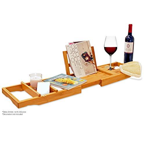 Bambus Badewannenablage – Badewannenauflage – Badewannenregal. Aus Bambus Holz, stabil und ausziehbar. Für Tablet, Laptop + Buchstütze, Halterung für Glas und...