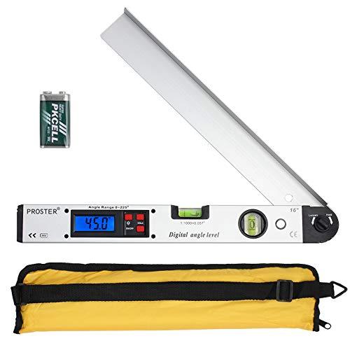 Proster Digitaler Winkelmesser 0-225 ° Digital Winkelmesser mit Wasserwaage und LCD Beleuchtetung 400 mm / 16 Zoll Winkelmessgerät mit Batterie und Tasche für...