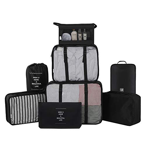 Belsmi Reise Kleidertaschen Set 8-teilig Reisetasche in Koffer Reisegepäck Organizer Kompression Taschen Kofferorganizer Mit Schuhbeutel (Stil A - Schwarz)