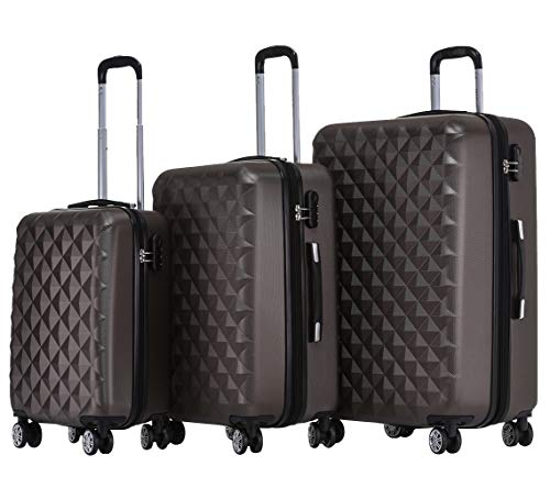 BEIBYE Twin Rolls 2066 Hard Case Trolley Suitcase Travel Case Luggage ML-XL-Set (Coffee, Set)