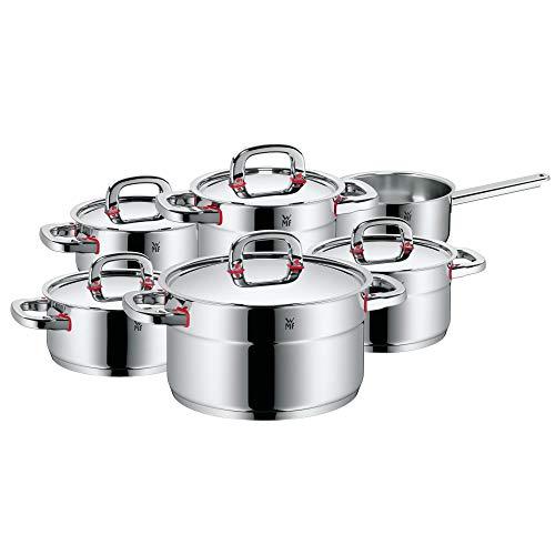 WMF Premium One Topfset Induktion 6-teilig, Kochtopf Set mit Metalldeckel, Cromargan Edelstahl poliert, Töpfe Set unbeschichtet, Innenskalierung